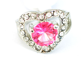 Gorgeous 14K GP Heart Diamante Ring