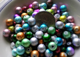 100 Pc Round COOL SNOW Glass Beads- 8mm