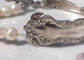 Antique Spoon Bracelet with White/Cream Freshwater Pearls