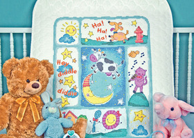 Hey Diddle Diddle Stamped Cross Stitch Kit w/free Bib Kit