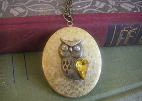 Vintage Owl Locket - large oval retro style locket