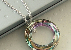 Swarovski Cosmic Ring Sterling Silver Necklace - Vitrail Light Swarovski crystal