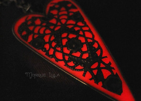 Fire Red Glow in the Dark Heart Pendant Antiqued Brass Filigree