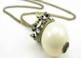 Crown Topped Faux Pearl Necklace