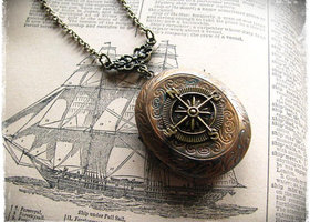 "Compass Locket Necklace ""The Journey"" Pirate Steampunk"