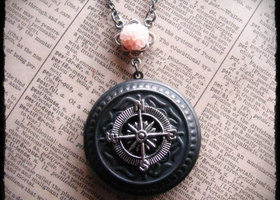 "Compass Locket Necklace ""The Journey"" Pink Resin Mum Accen"