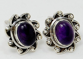 Amethyst gemstone and Sterling Silver Earrings