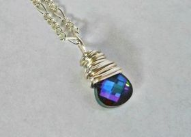 Genuine Beautiful Swarovski Heliotrope Crystal 11mm Faceted Briolette Wire Wrapped with Silver Plated German Wire on 18in Silver Plated Chain - Shades of Blue and Purple