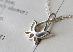 Namaste - Small Sterling Silver Lotus Necklace