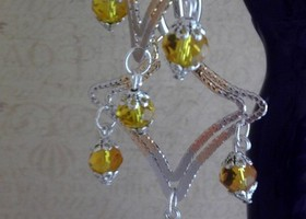 18K Two Tone gold-filled Earrings with Swarovski Crystal