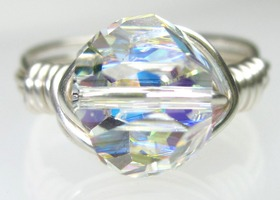 Swarovski Crystal AB Ring - Graphic Cube