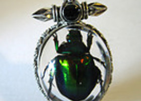 Real Beetle Insect Cross Glass Goth Necklace & Pendant