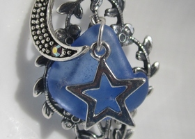 Moon and Star beach glass  necklace