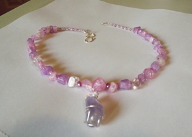Pink and Lavender Crackled Glass Necklace with Wirewrapped pink stone