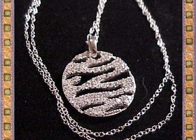 Pretty Zebra Necklace Pendant .925 Stamped