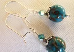 Teal Jasper Gemstone Earrings