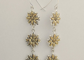Sunflower Cascading Earrings -Two Tone Silver and Gold
