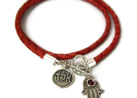 Mothers day Special edition - double luck charms bracelet - soft red Leather and Sterling Silver Hamsa Hand and ALD Kabbalah Charms