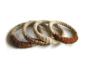 Rope bracelets in warm neutrals set of four