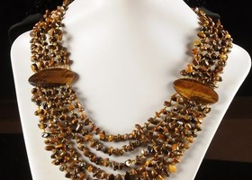 Huge golden tiger eye necklace