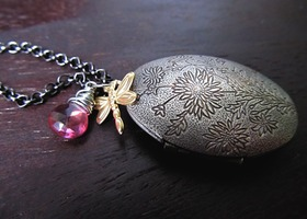 My Sweet Chrysanthemum Flower Dragonfly Locket Necklace