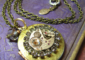 Steampunk Black Diamond Swarovski Watch Movement Art Locket Necklace