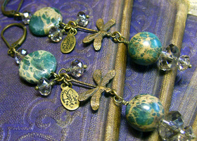 Jasper Dragonflies - Brass & Crystal Long Dangle Art Earth Earrings