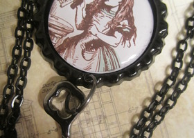 $1 Starting Bid Alice in wonderland Vintage Inspired Bottlecap Necklace Pendant on Black Chain