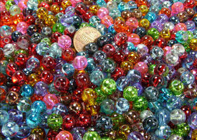 100 pcs 8MM ROUND COLOR FUSION GLASS BEADS