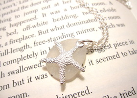 Mother's day Sea Glass Starfish Necklace in Seafoam white