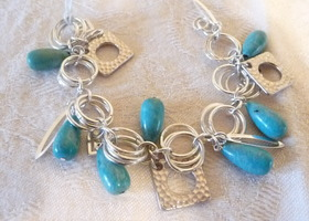 SILVER PLATED TURQUOISE BRACELET (Genuine Stabilized)