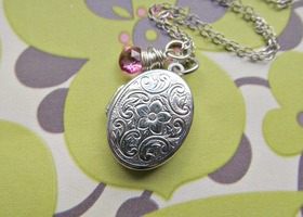 Locket Necklace Flowery Sterling Silver and Pink Tourmaline Gemstone