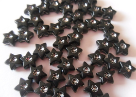 *100 Black Acrylic Star Beads 8x8mm