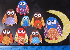 8 Owl w/Moon Fabric Iron On Appliques to jazz up your clothing or craft projects