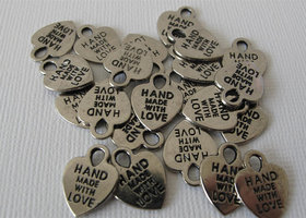 Set of 70 Hand Made with Love Nickel Heart Charms