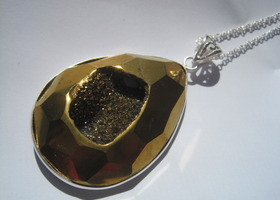 Large Gold Druzy Necklace in Sterling Silver