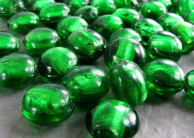 "Rainforest Green Glass Foil Beads 1/2"" Lot of 53"