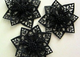 Black Punctured Leather Flower Appliques