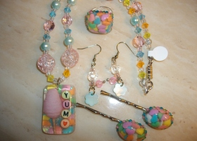 Yum Cotton Candy Resin Pendant Necklace Ring Hair Clips And Earring Set