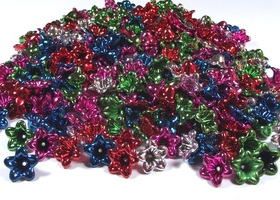 100 Metallic Flower Beads