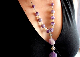 OOAK Long Amethyst Necklace