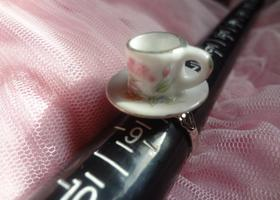 Tea Cup and Saucer Adjustable Ring Silver Tone