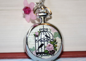 Bird Cage Pocket Watch Necklace - Silver