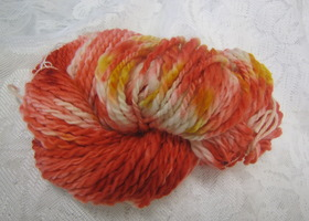 Hand spun, hand dyed 2 ply wool yarn