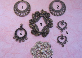 Lot of Vintage Inspired Pendant and Earring Findings