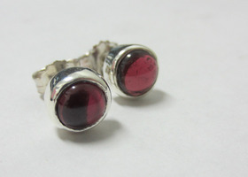 Garnet Stud Earrings - January Birthstone