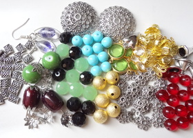 Colorful Glass Beads and Findings