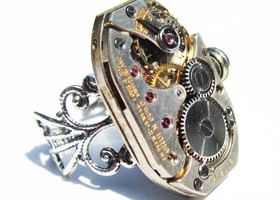 Steampunk watch movement ring, Gruen Guild