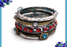 4 CUTE STACKING RINGS w CRYSTALS 6.5