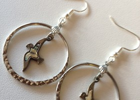 Hammered Silver Hoops & Mother Of Pearl Swallows - Dangle Earrings